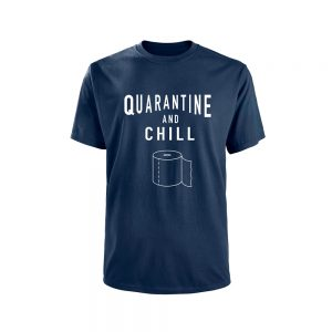 Mens T-Shirt COVID19 - Quarantine and Chill - Navy