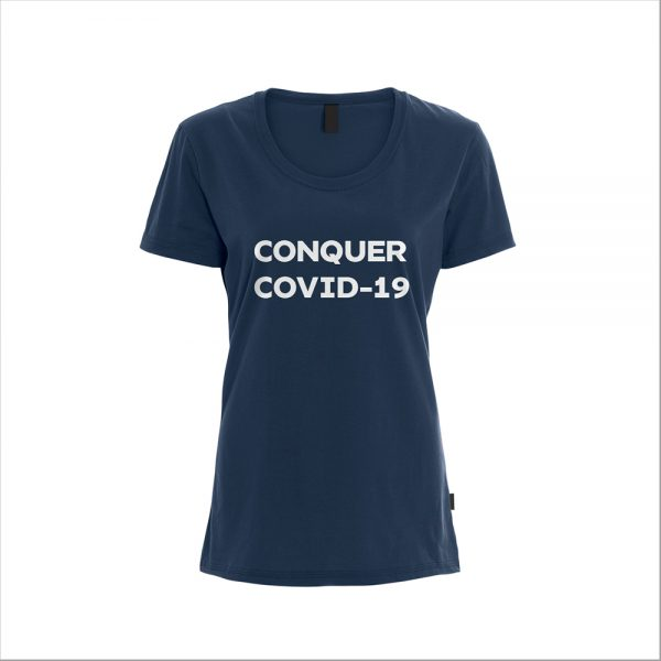 Womens T-Shirt COVID19 Conquer Covid-19 - Navy