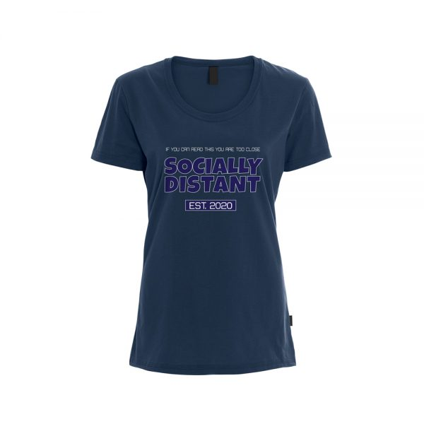 Womens T-Shirt COVID19 - Socially Distant EST. 2020 - Navy