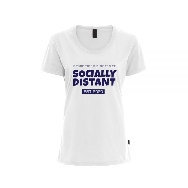 Womens T-Shirt COVID19 - Socially Distant EST. 2020 - White